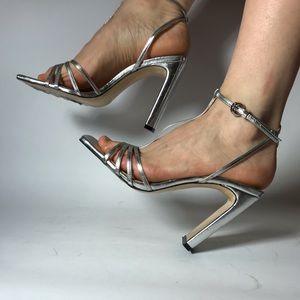 Zara silver metallic T strap square toe sandals